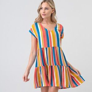 Stacked Colorful Stripe Dress M NWT